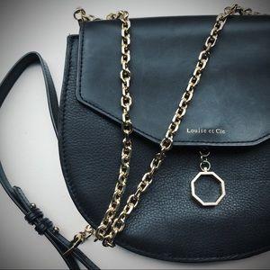 LOUISE ET CIE Jael Leather Black & Gold Crossbody✨